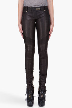 balmain leather leggings