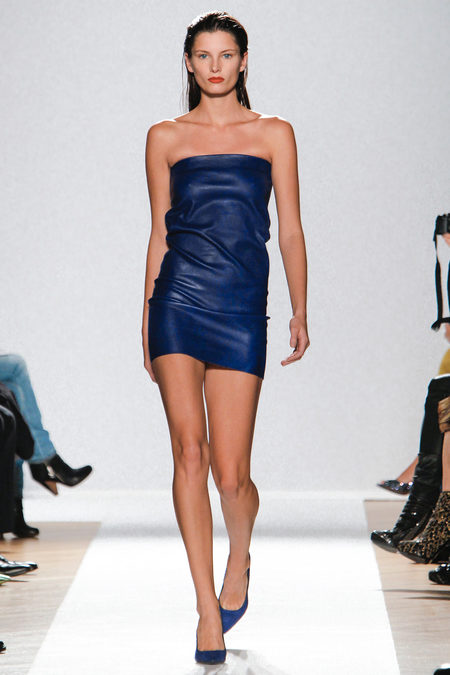 blue leather dress