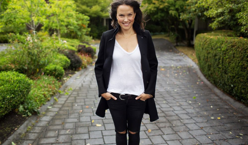 Jessie Carlson Personal Wardrobe Stylist in Vancouver, Canada, smiling in a black and white outfit